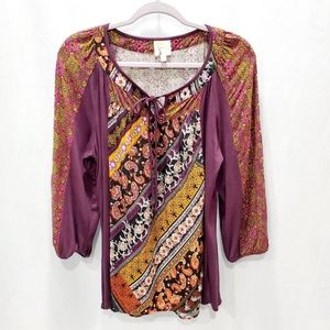 Fig and Flower Print Anthropology Top P168